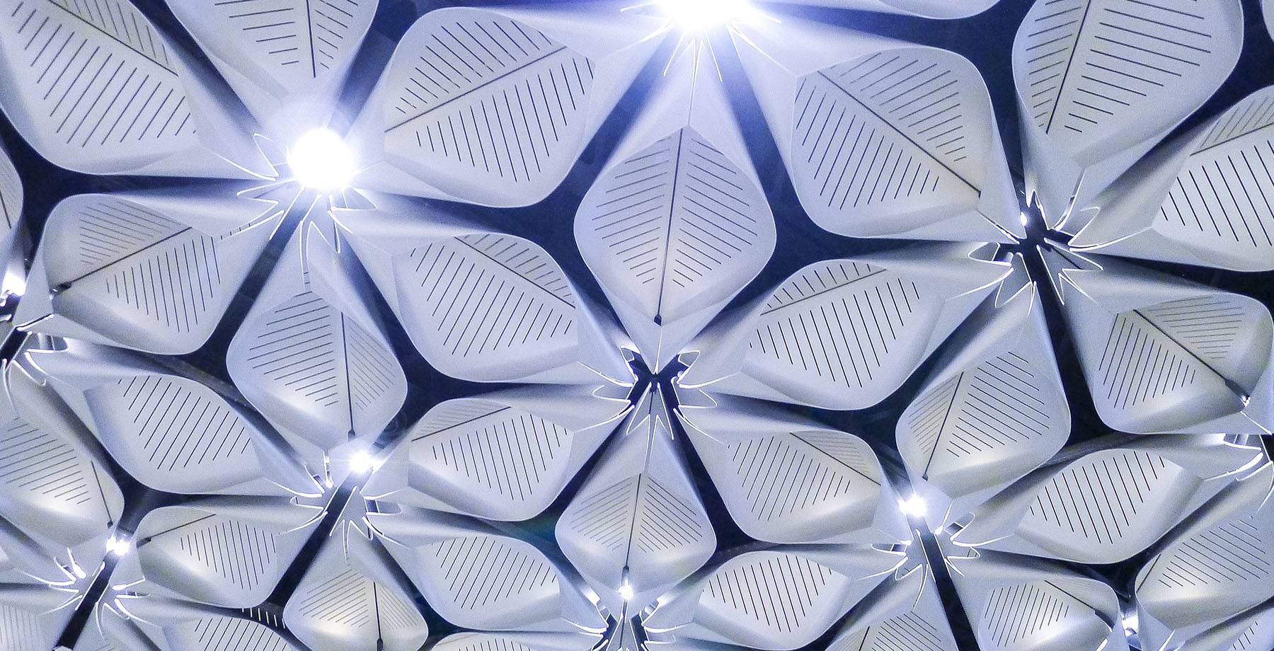 Petal shaped ceiling panels