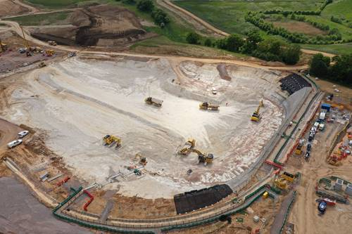 aerial of HS2 construction site